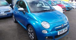 FIAT 500 1.2 S, 3DR, H/B, ELECTRIC BLUE MET, 37000 MILES ONLY, £30 ROAD TAX, REAL EYE CATCHER, VERY CLEAN EXAMPLE