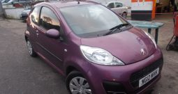 PEUGEOT 107 1.O ACTIVE, 3DR, H/B, PURPLE MET, 49000 MILES ONLY, £0 ROAD TAX, VERY CLEAN EXAMPLE